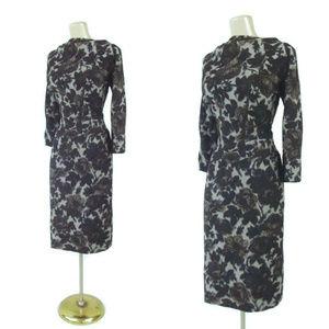 VINTAGE 50s Rose Print Wool & Silk Wiggle Dress
